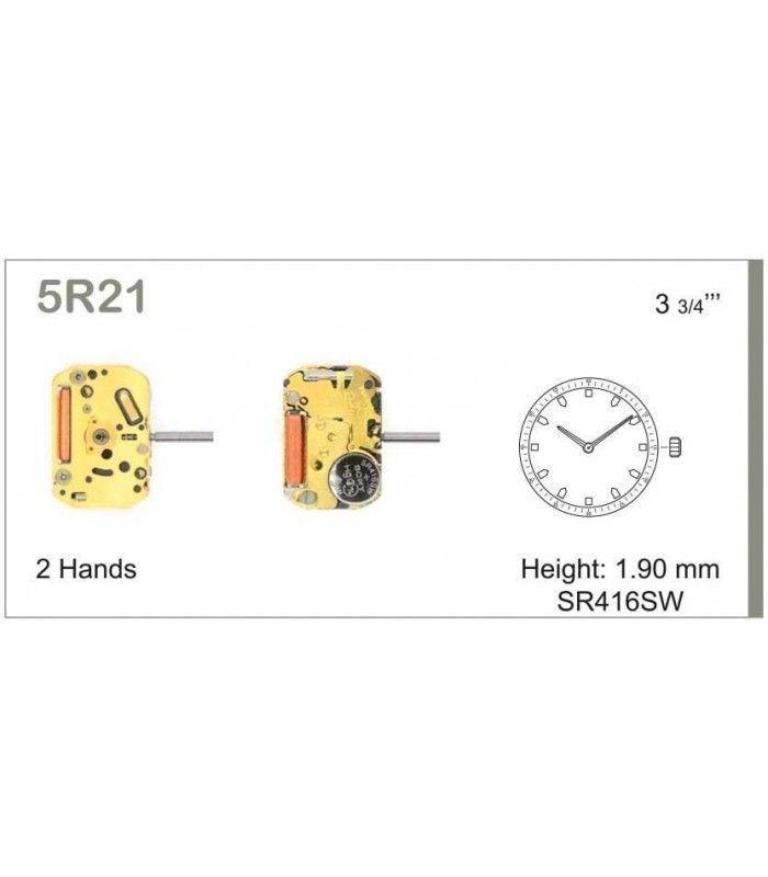 Máquina o movimiento para reloj MIYOTA 5R21