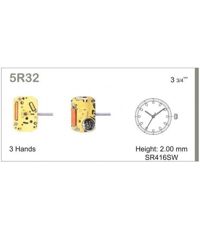 Máquina o movimiento para reloj MIYOTA5R32