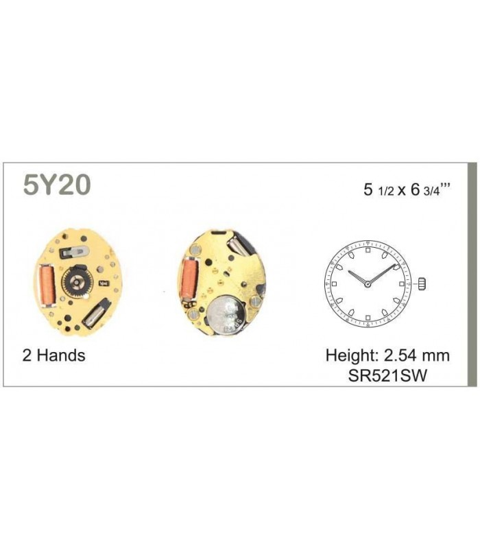 Movement for watches, MIYOTA 5Y20