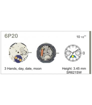 Maquinaria de reloj Ref MIYOTA 6P20