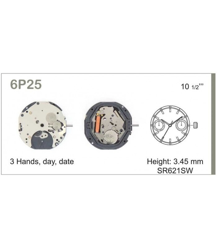 Movement for watches, MIYOTA 6P25