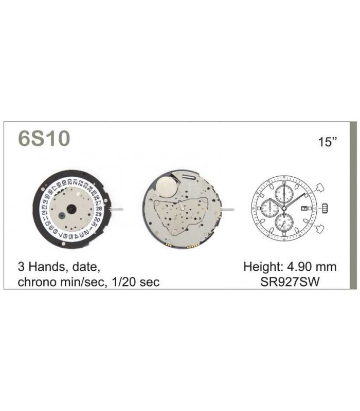 Movement for watches, MIYOTA 6S10