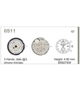 Maquinaria de reloj Ref MIYOTA 6S11