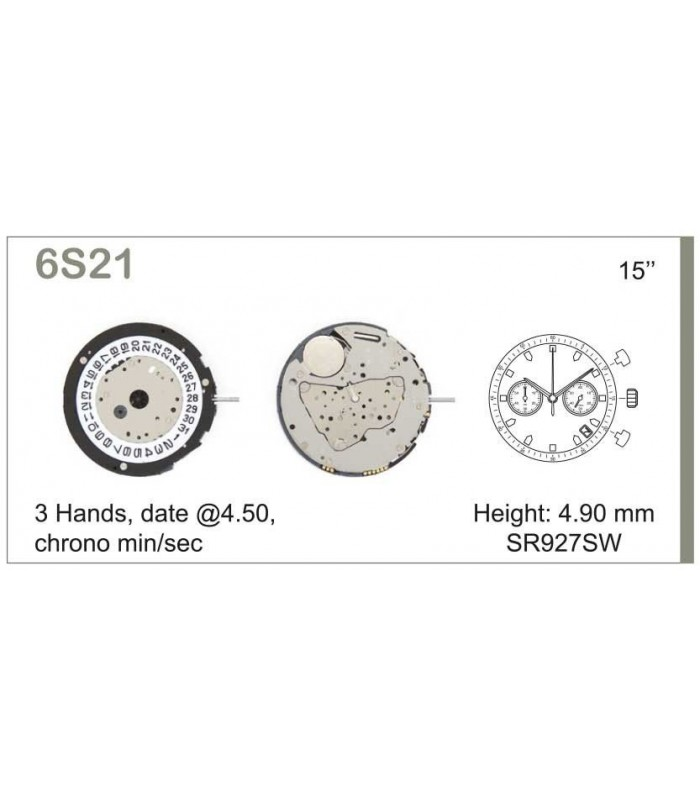 Movement for watches, MIYOTA 6S21