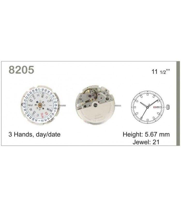 Máquinas ou movimentos para relógio, MIYOTA 8205