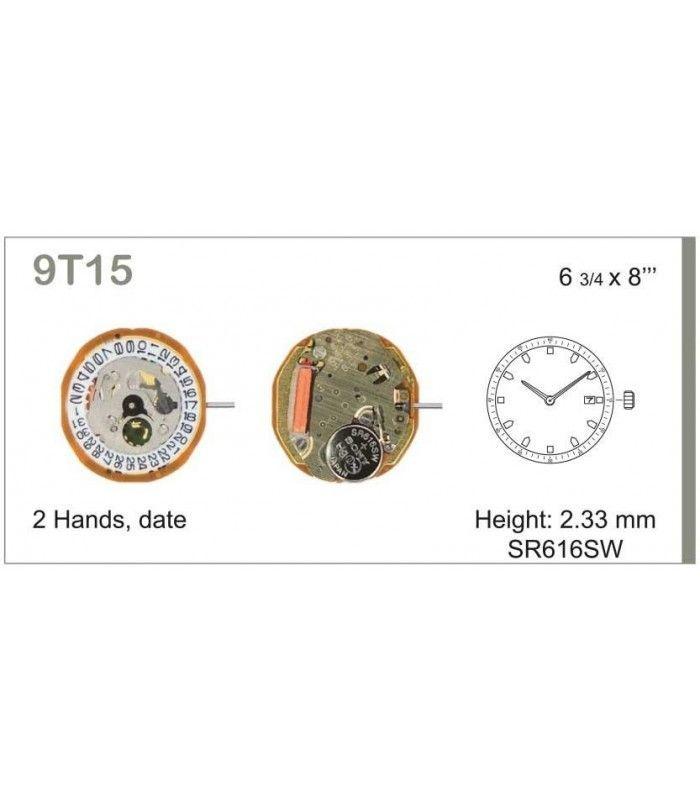 Máquinas ou movimentos para relógio, MIYOTA 9T15