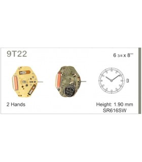 Maquinaria de reloj Ref MIYOTA 9T22