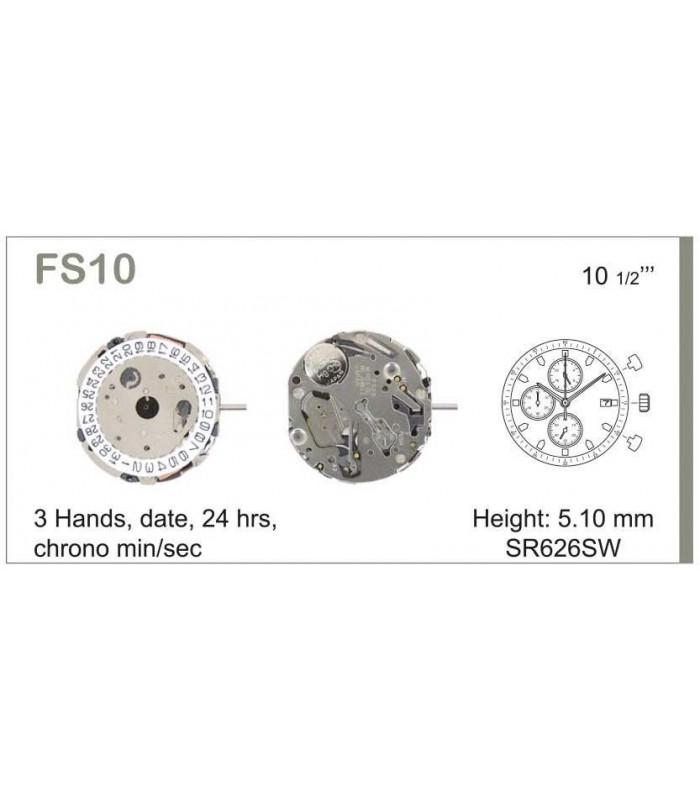 Movement for watches, MIYOTA FS10
