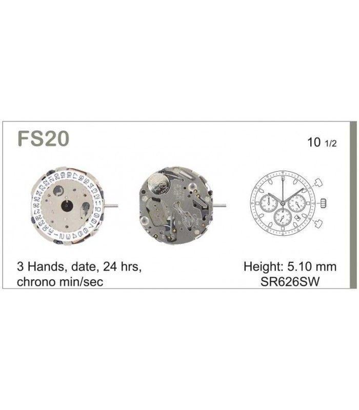 Máquinas ou movimentos para relógio, MIYOTA FS20