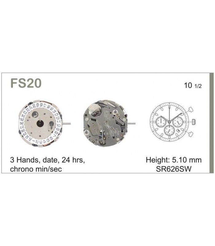 Meccanismo Orologio Ref MIYOTA FS20