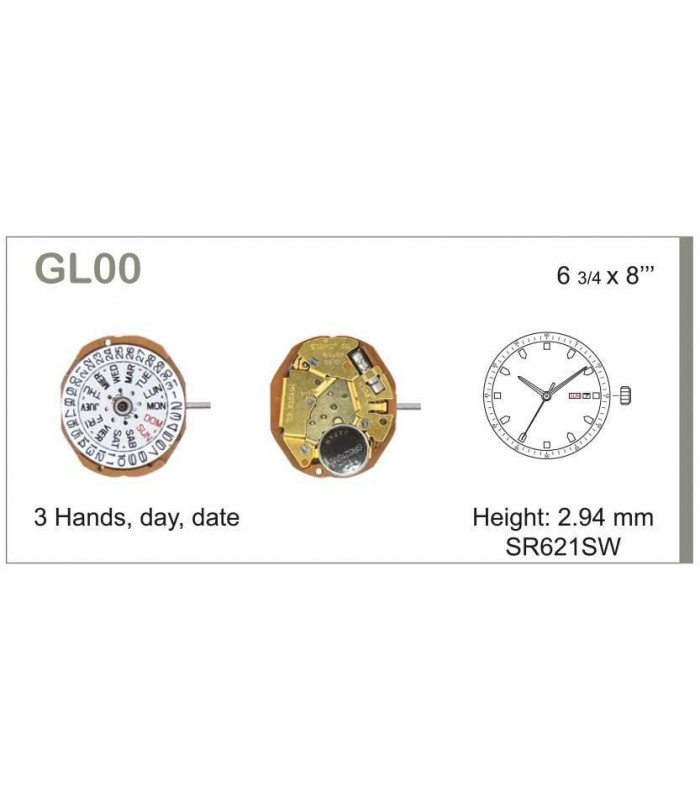 Máquina o movimiento para reloj MIYOTA GL00