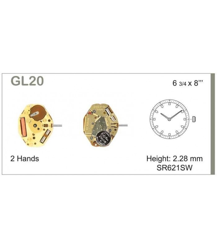 Máquinas ou movimentos para relógio, MIYOTA GL20