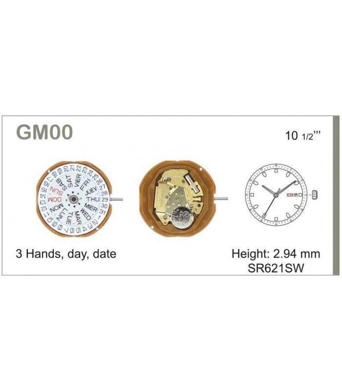Máquinas ou movimentos para relógio, MIYOTA GM00