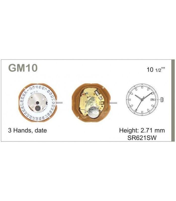 Máquinas ou movimentos para relógio, MIYOTA GM10