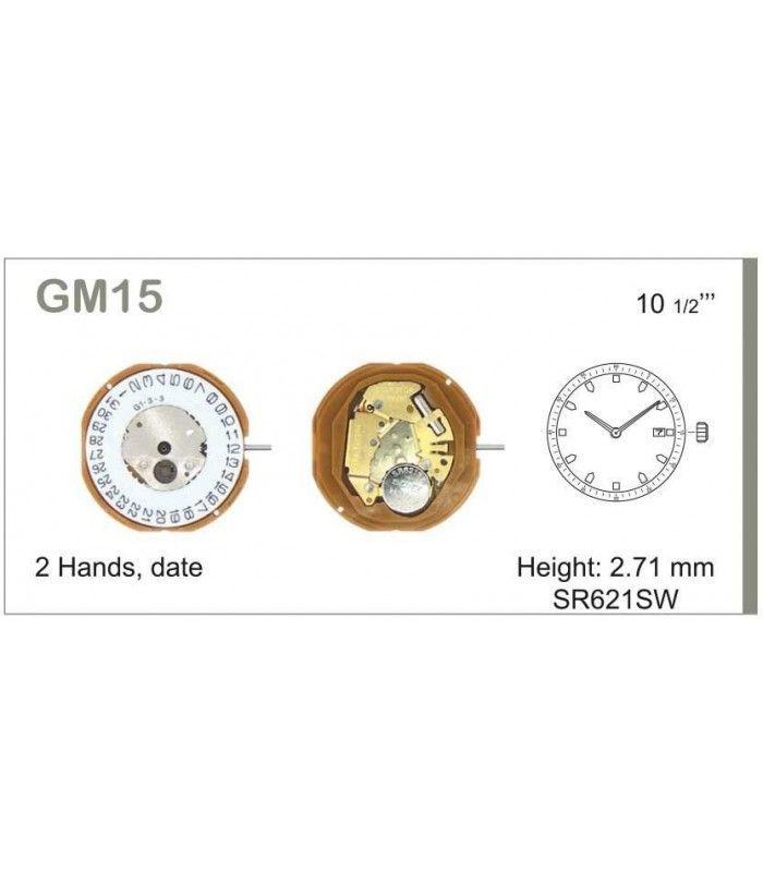 Máquinas ou movimentos para relógio, MIYOTA GM15