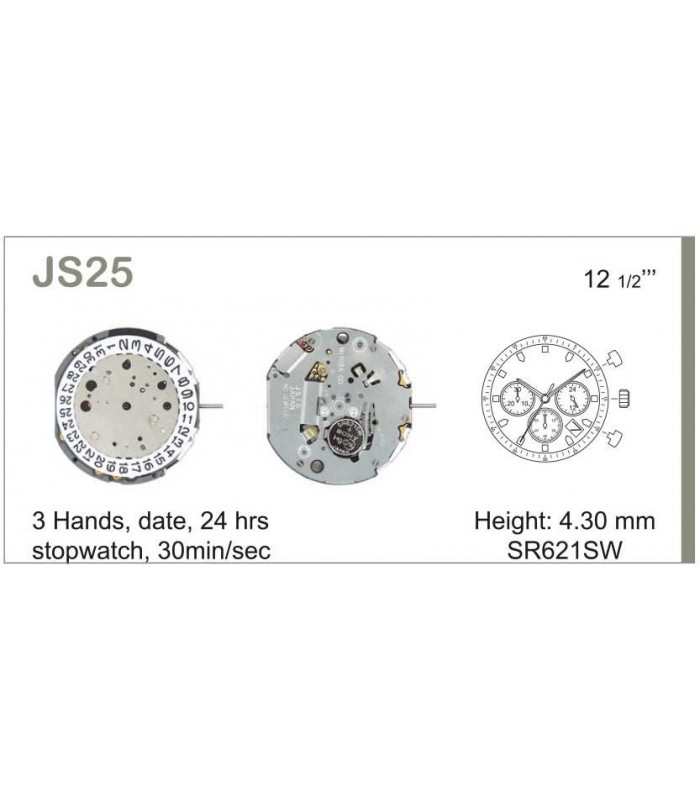 Máquinas ou movimentos para relógio, MIYOTA JS25