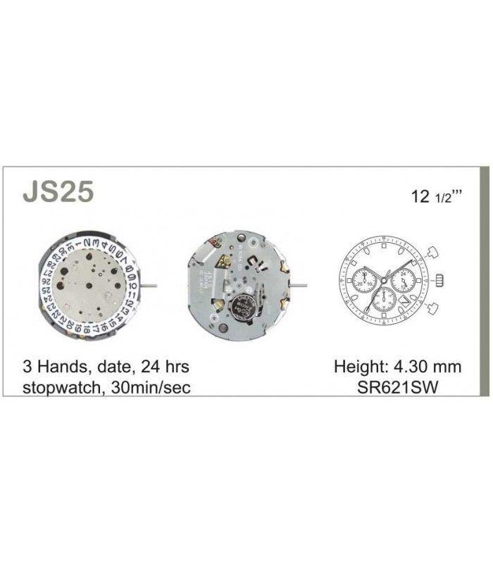 Máquina o movimiento para reloj MIYOTA JS25