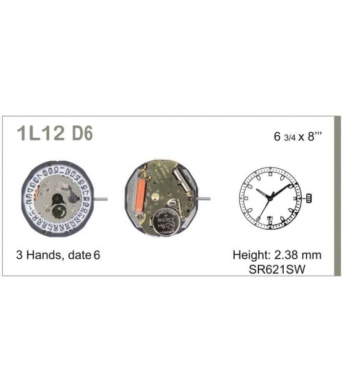 Máquinas ou movimentos para relógio, MIYOTA 1L12D6