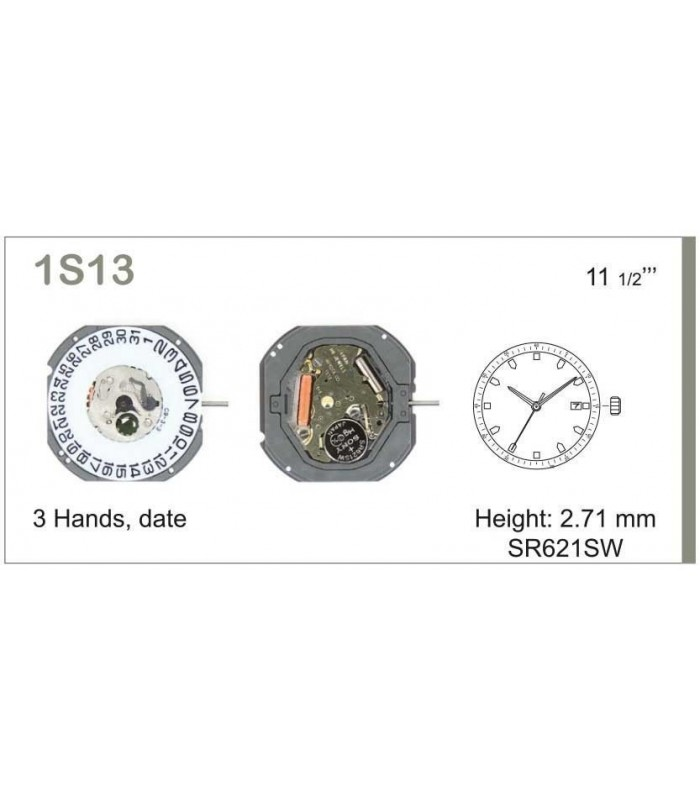 Máquinas ou movimentos para relógio, MIYOTA 1S13D3