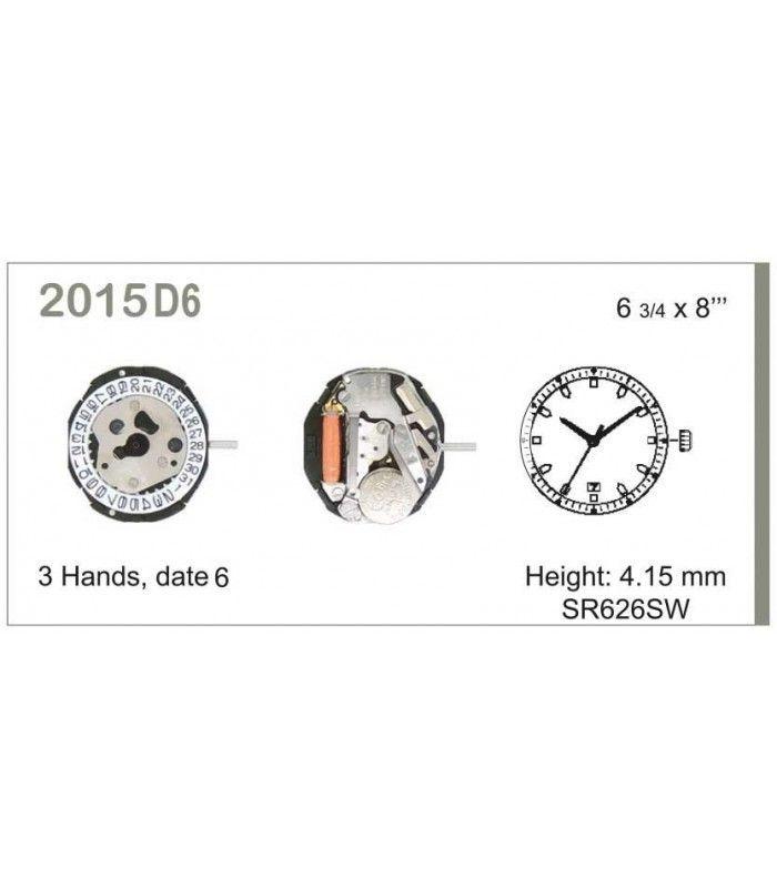 Máquinas ou movimentos para relógio, MIYOTA 2015D6