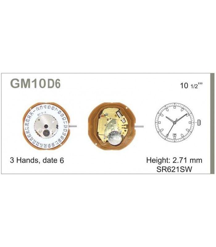 Máquinas ou movimentos para relógio, MIYOTA GM10D6