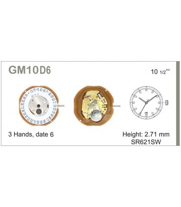 Maquinaria de reloj Ref MIYOTA M10D6
