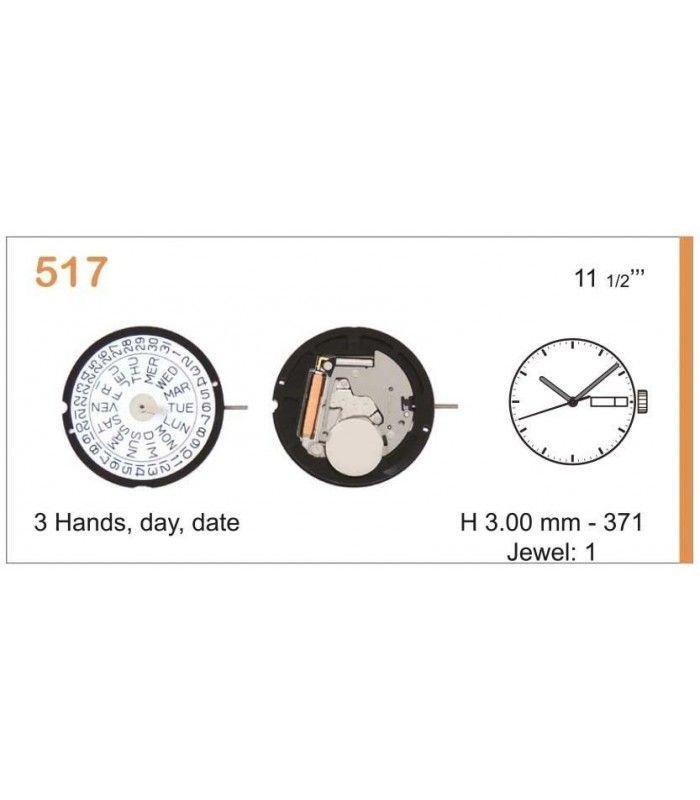 Máquinas ou movimentos para relógio, RONDA 517