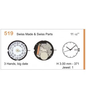 Movement for watches, RONDA 519