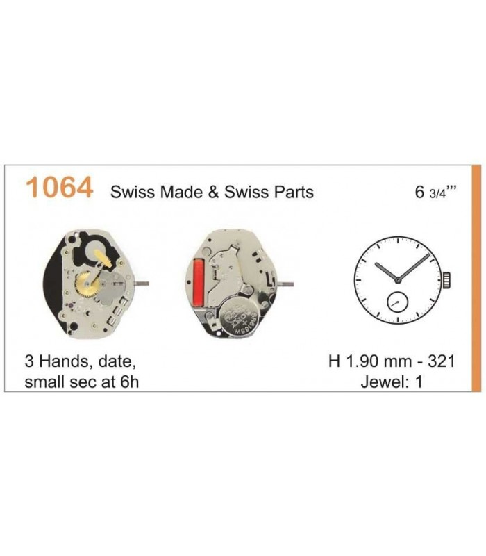 Movement for watches, RONDA 1064
