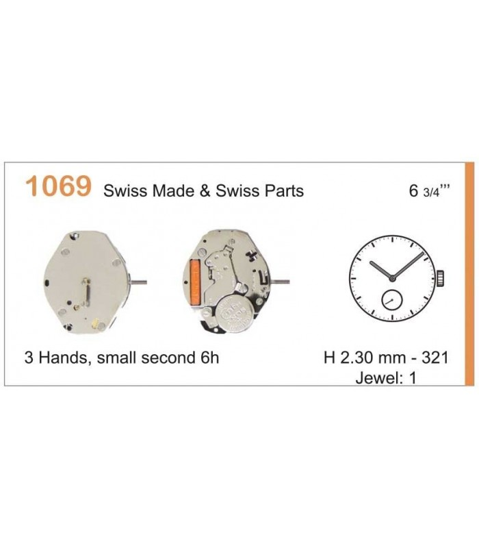 Movement for watches, RONDA 1069