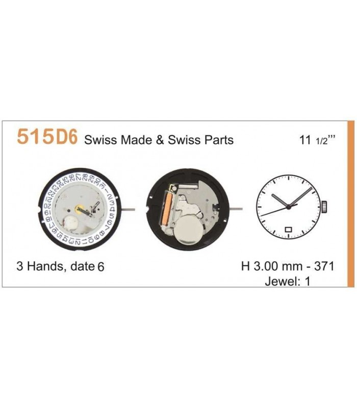 Movement for watches, RONDA 515D6