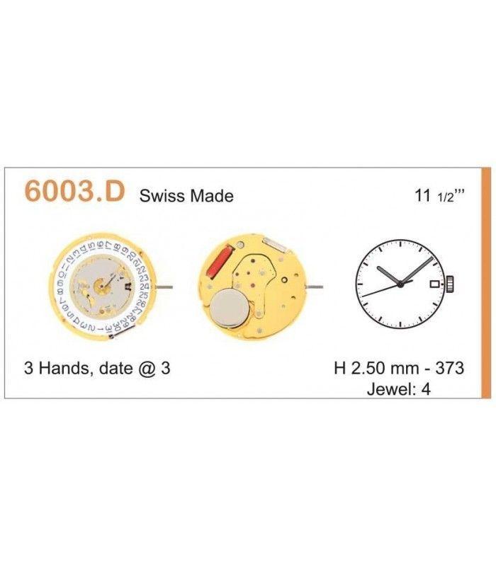 Máquinas ou movimentos para relógio, RONDA 6003D