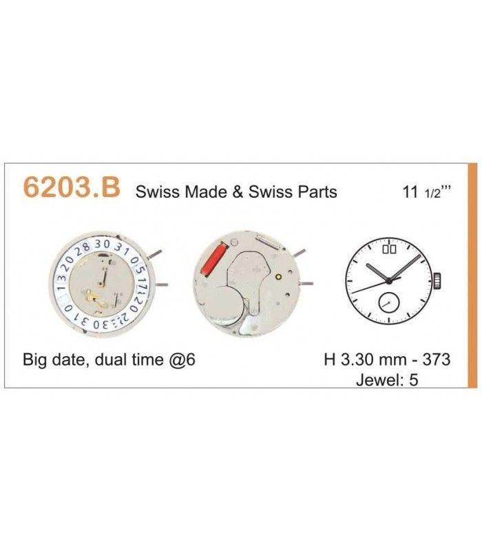 Máquinas ou movimentos para relógio, RONDA 6203B