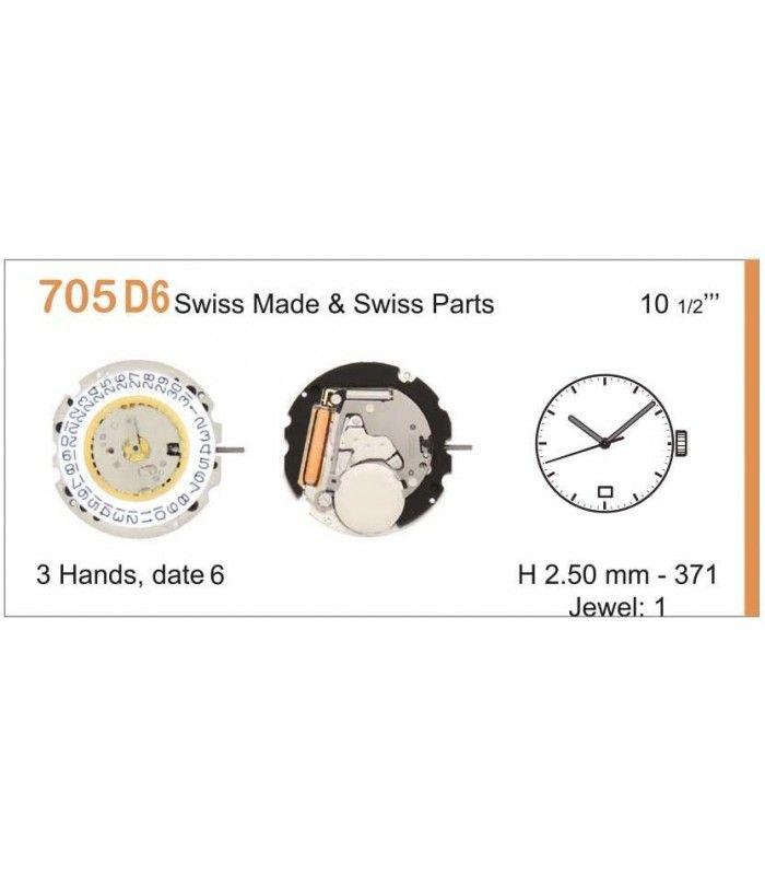 Máquinas ou movimentos para relógio, RONDA 705D6