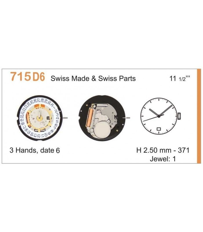 Movement for watches, RONDA 715D6