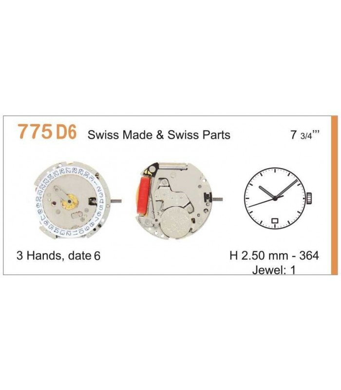 Movement for watches, RONDA 775D6