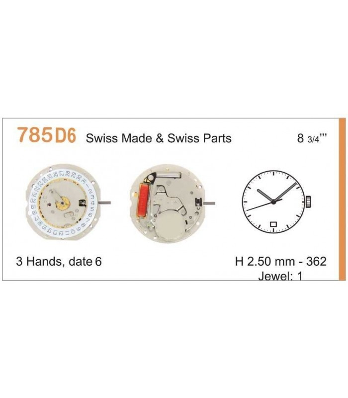 Movement for watches, RONDA 785D6