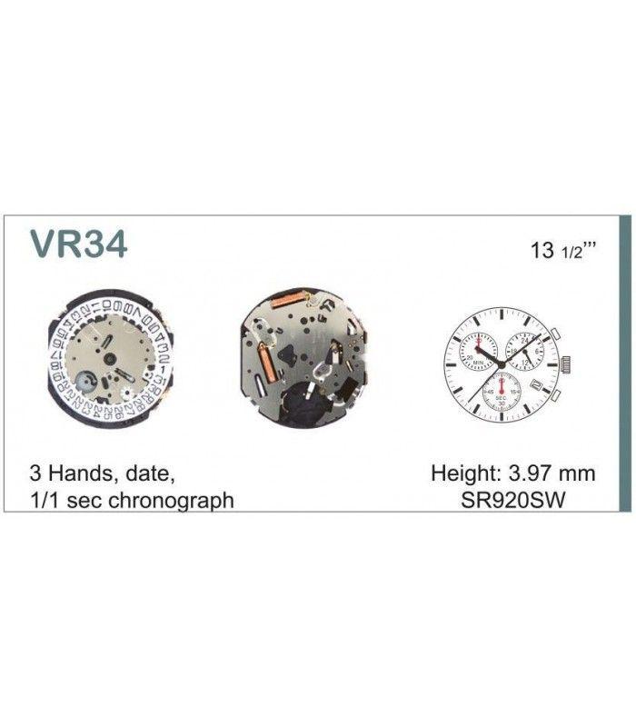 Máquinas ou movimentos para relógio, HATTORI VR34