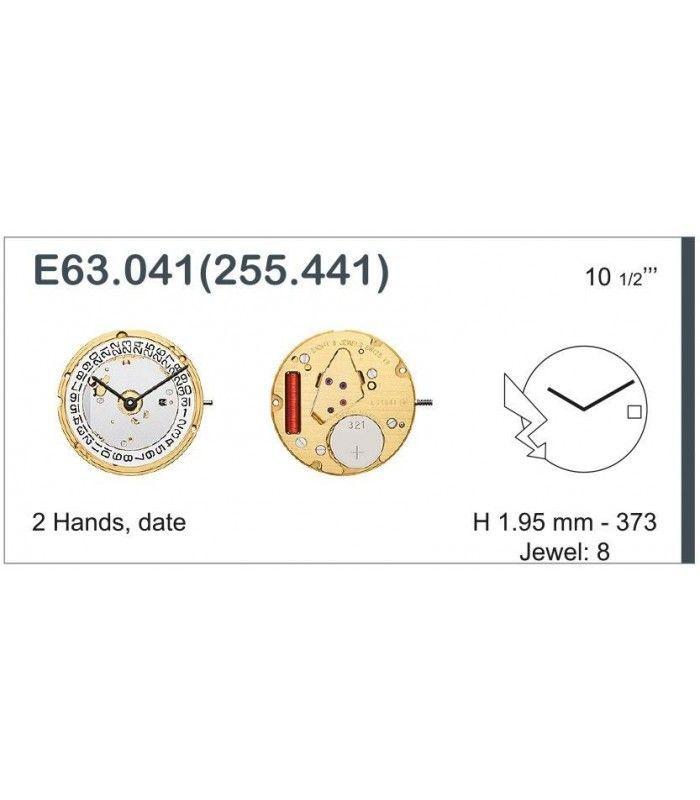 Máquinas ou movimentos para relógio, ETA E63.041