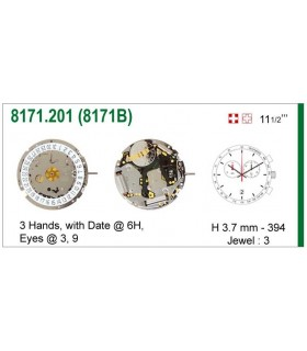 Movement for watches, ISA 8171B