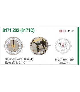 Máquina o movimiento para reloj ISA 8171C