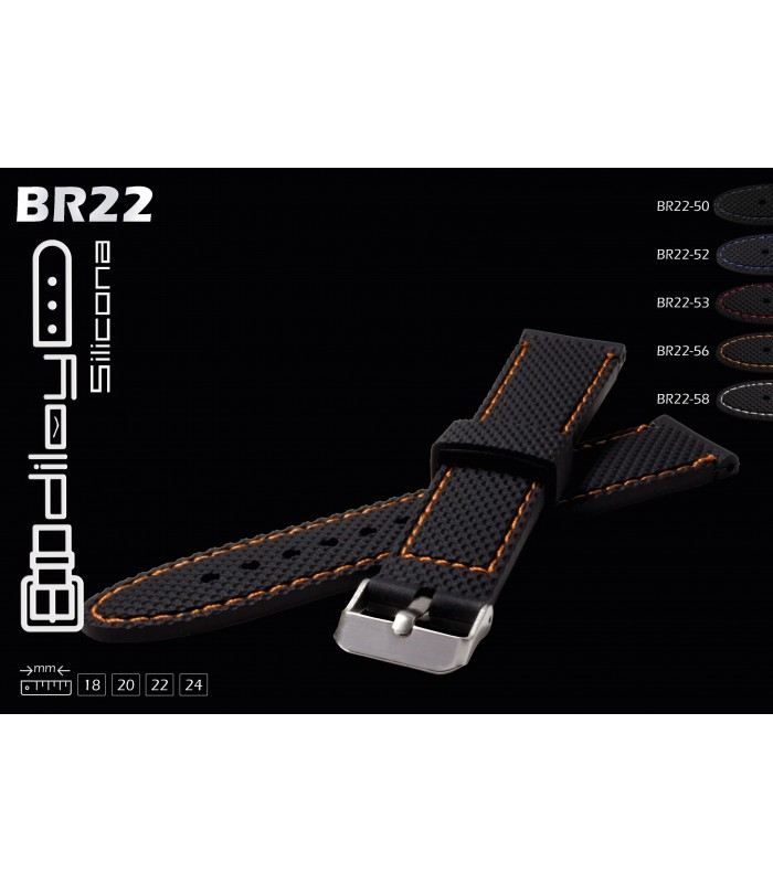 Silicone watch strap, Diloy BR22