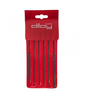 Set of 6 Needle Files, 160mm, cut 2 for jewelry, costume jewelery and crafts in general. Diloytools LI.00J6.