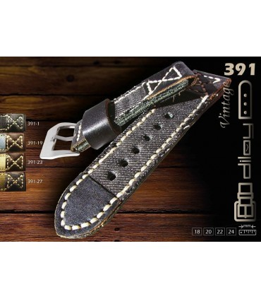 Cinturino orologio in denim e pelle Ref 391