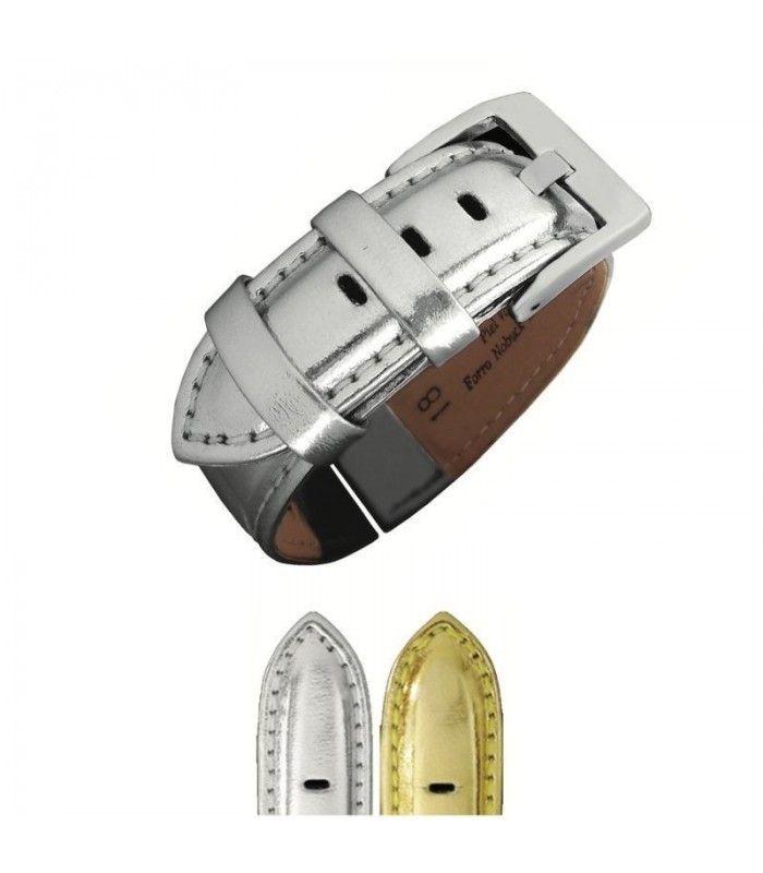 Correa de piel metalizada para reloj Diloy 369
